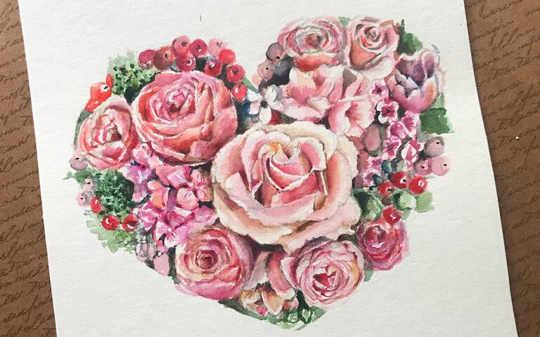 Rose zeichnen – Einführung in das Malen von Rosen in Aquarell