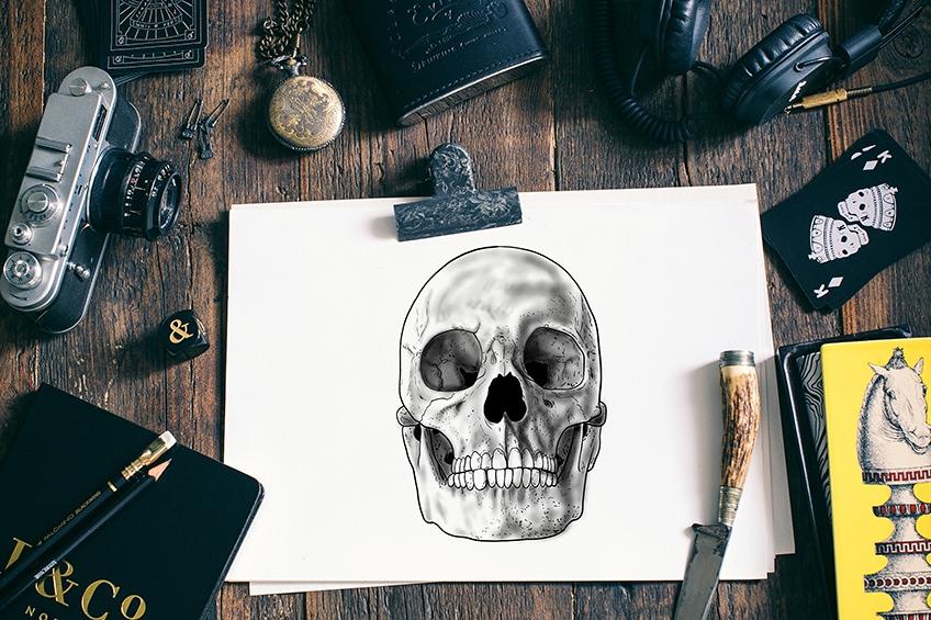 totenkopf zeichnen