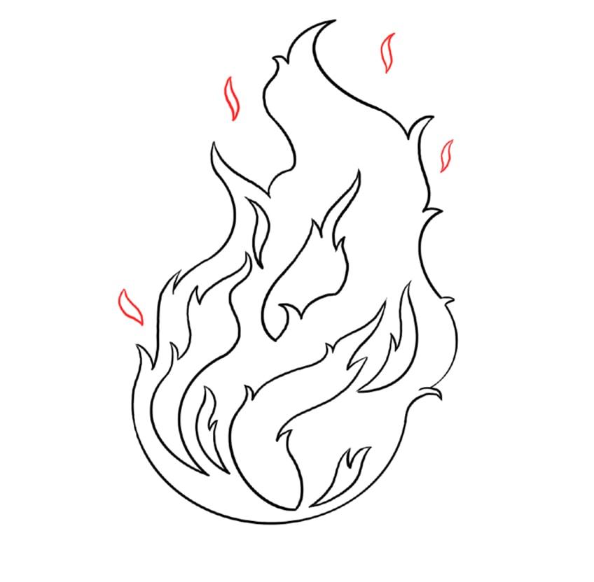 feuer zeichnen schritt 06